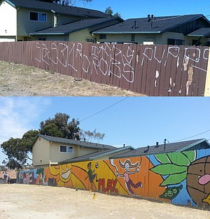 Brise Birdsong helped design this mural on a vandalized fence on Naranja & Euclid.