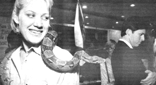 "ConVis had hired the Zoo's ''goodwill ambassador,"" Joan Embery, to transport a boa constrictor to this space six stories above Times Square."