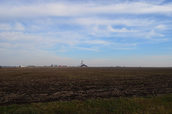 Empty corn field, east of Chicago, Illinois, near Fox River, November 2012