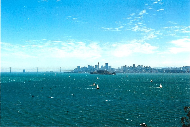 Sailboats in San Francisco Bay, July 1996, shot with Cannon AE-1 camera