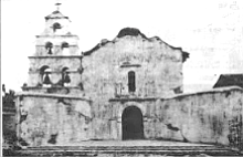 Mission church with reconstructed belfry, circa 1930