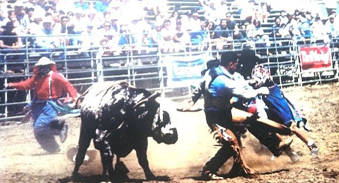 "Danny ""Buffalo Chip"" Alvarez, bull rider and rodeo clown in the Lakeside Rodeo"