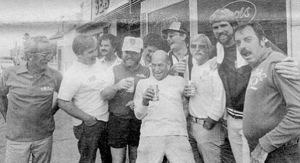 A 1979 photo of Members of OMBAC next to the pennant bar, their unofficial clubhouse