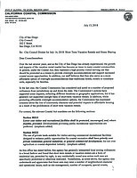 Page 1 of CA Coastal Commission letter to city, sent out July 13 (Friday).