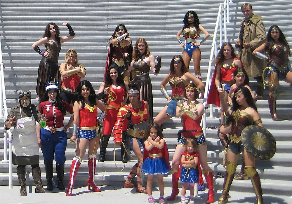 Group Wonder Woman cosplay at 2017 Comic-Con International: San Diego, image by Jamie Ralph Gardner