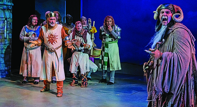 Spamalot at Cygnet Theatre cast members Anthony Methvin, Sean Murray, Jonathan Sangster, Trevor Cruse, James Saba, and Donny Gersonde.