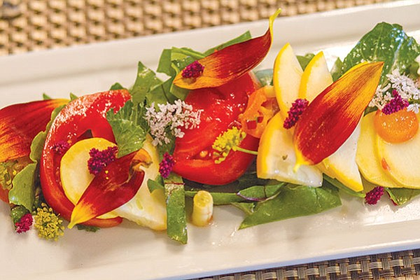 This Terra American Bistro salad was made using Two Forks Farm veggies and flowers.