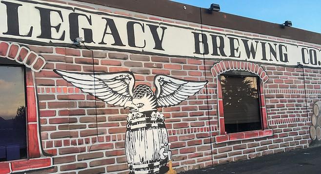 A tattoo art-like bald eagle mural