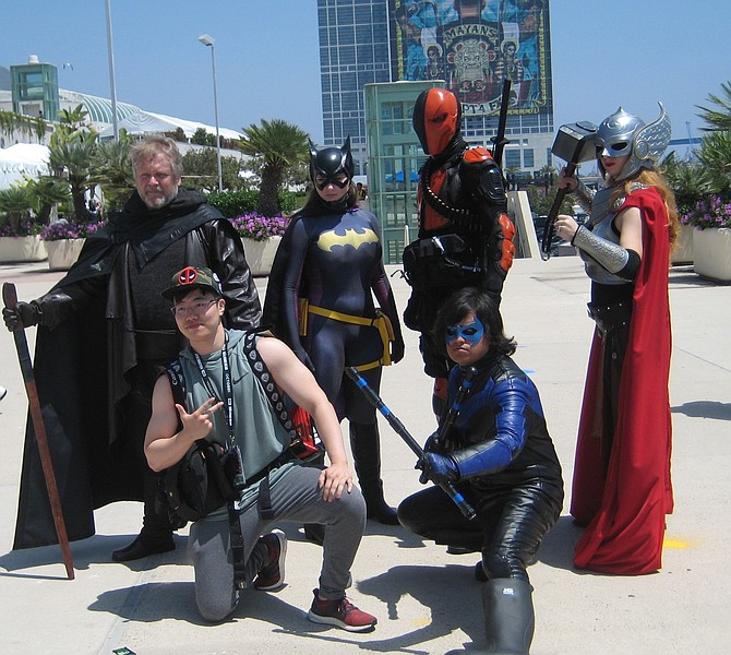 Luke Skywalker (from Star Wars: The Last Jedi), Batgirl, Deathstroke, Nightwing, and Thor - photo by Jamie Ralph Gardner