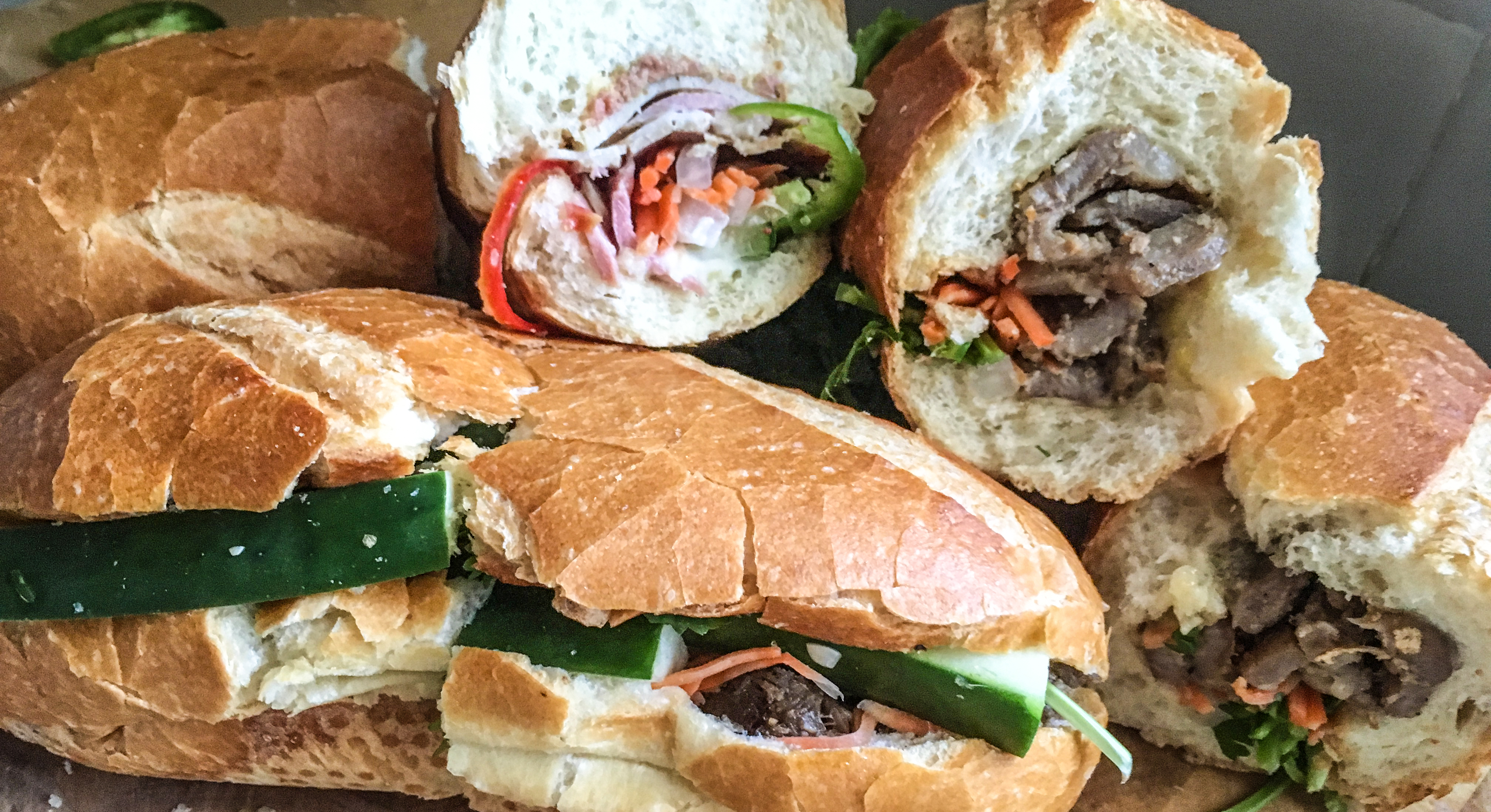 A cluster of crusty and flavorful banh mi
