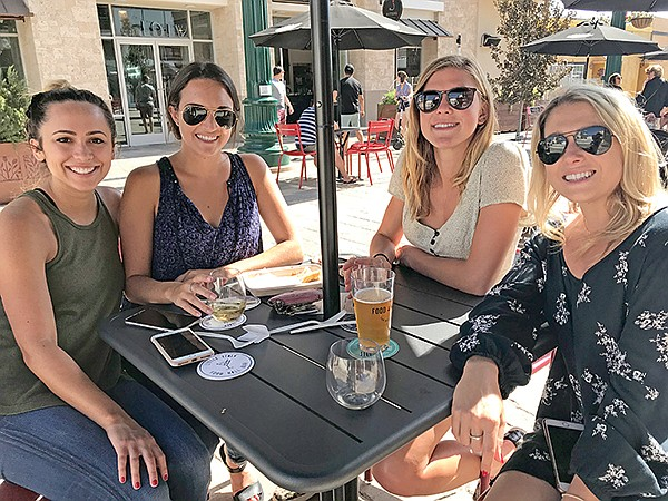 First to exercise the piazza's freedom to imbibe laws: Lauren, Gina, Amanda, Vanessa.