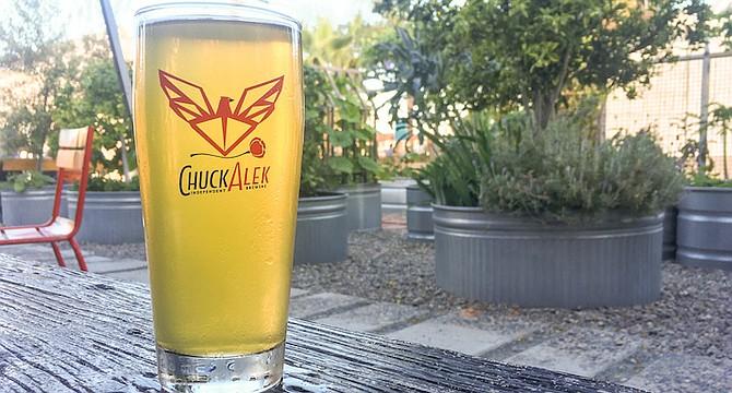 Flycaster helles lager, served at ChuckAlek Biergarten