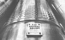 Thirty stainless steel tanks for storing and fermenting wine were purchased at the price of three dollars per gallon of capacity.
