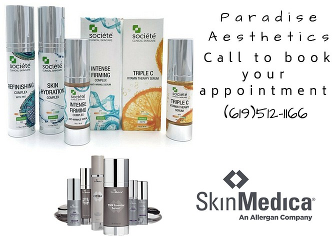 Skin care products at paradise Aesthetics