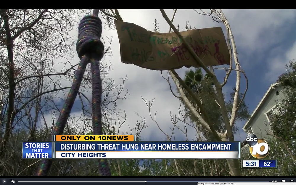 """Trespassers will hang by the heads."" (Noose shown on Channel 10.)"