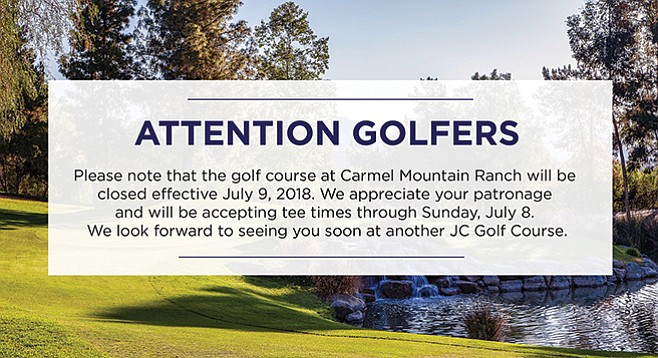 Carmel Mountain Ranch Golf Course note of July 9, 2018, closure