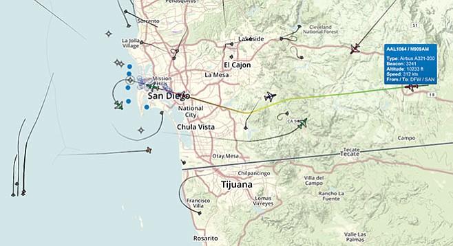Wonacott's Flight Tracker showed nighttime aircraft flying at 295 degrees, not 290.