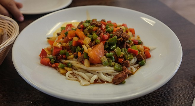 Hand-pulled laghman noodles, the regional dish of Xinjiang