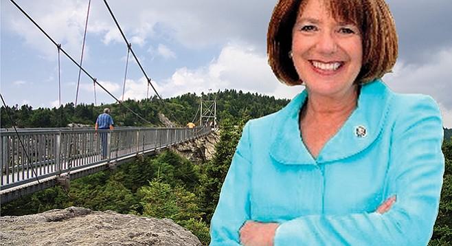 Susan Davis at Mile-High Swinging Bridge