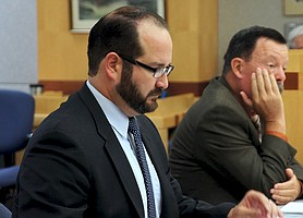 Prosecutor Dan Owens w Sheriff's detective, in court, photo by Eva Knott.