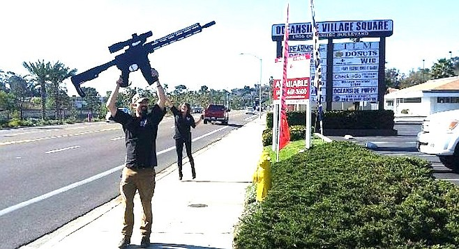 Waving the fake AR-15 on the street was started in 2016 by Firearms Unknown manager Brendan Von.