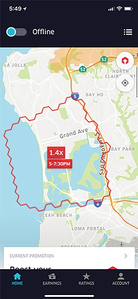 Pacific Beach boost area. On weekends between midnight and 2 am, there is 80 percent increase in fares.