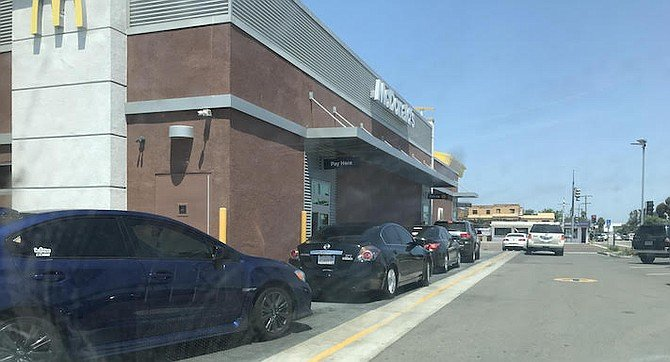 """Palm Avenue McDonald's. """"You're supposed to drive to the right and around the restaurant to get in line."""""""