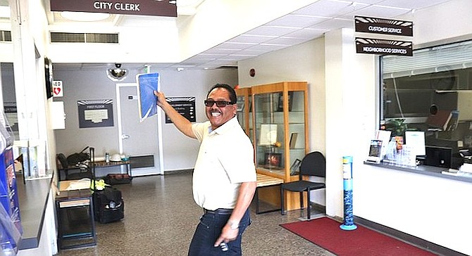 Jerry Cano at the City Clerk's office on Friday, August 10.