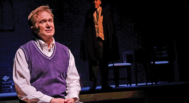 Alfie Byrne (played by Barron Henzel) heeding the words of Oscar Wilde (played by Ralph Johnson) in A Man of No Importance at Coronado Playhouse.