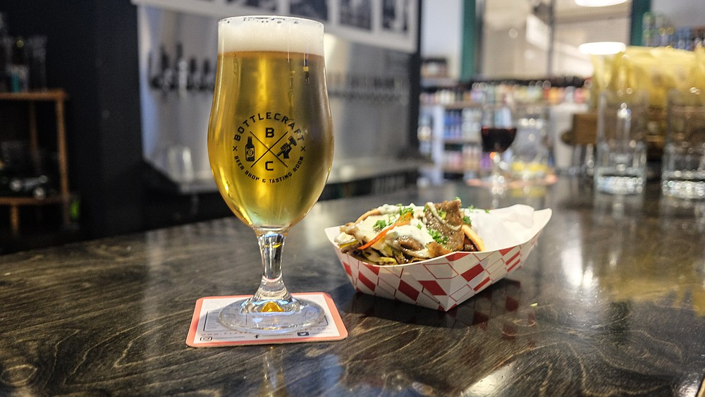 Whatever you order at Liberty Public Market can be eaten with beer at the Bottlecraft bar