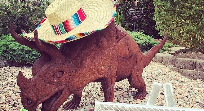 Trixie, the triceratops sculpture, was spotted at Lindbergh Park, where two males were unloading it from a white truck on July 23, just 36 hours after it was stolen.