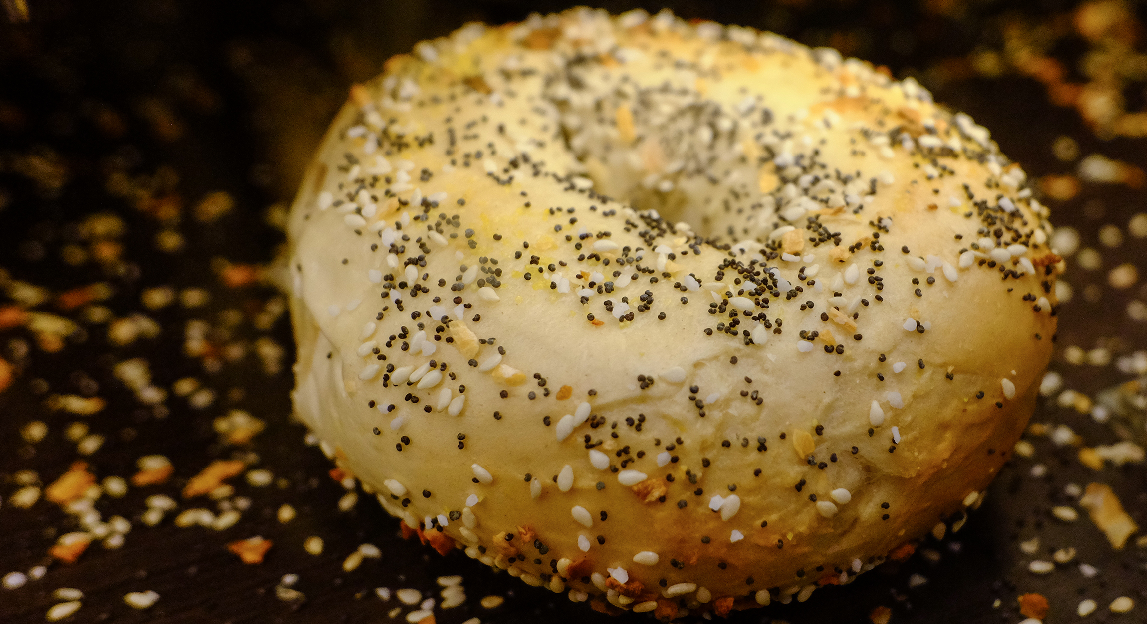 An everything bagel, boiled then baked at 500 degrees.