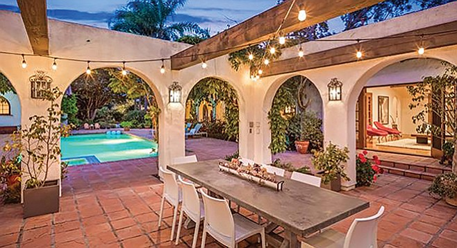The Spanish Revival-style home is one of the oldest in the Rancho Santa Fe Covenant.