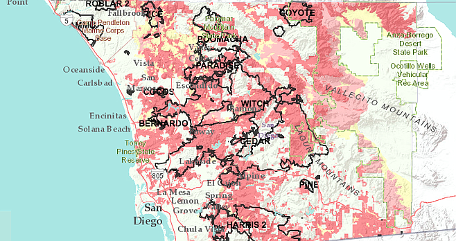 San Diego County wildfire hazard map
