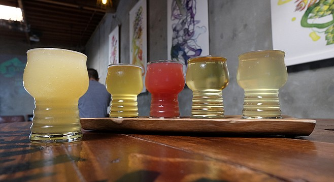 A cider slushie (left), along with a flight of very distinctive ciders