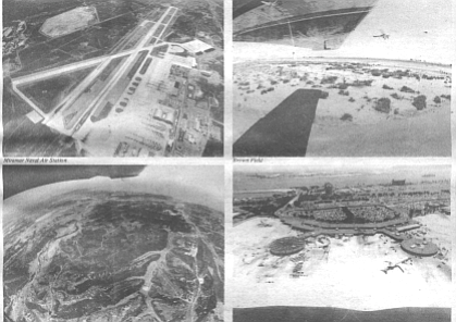 Clockwise from top left: Miramar Naval Air Station, Brown Field, Lindbergh Field, Carmel Valley