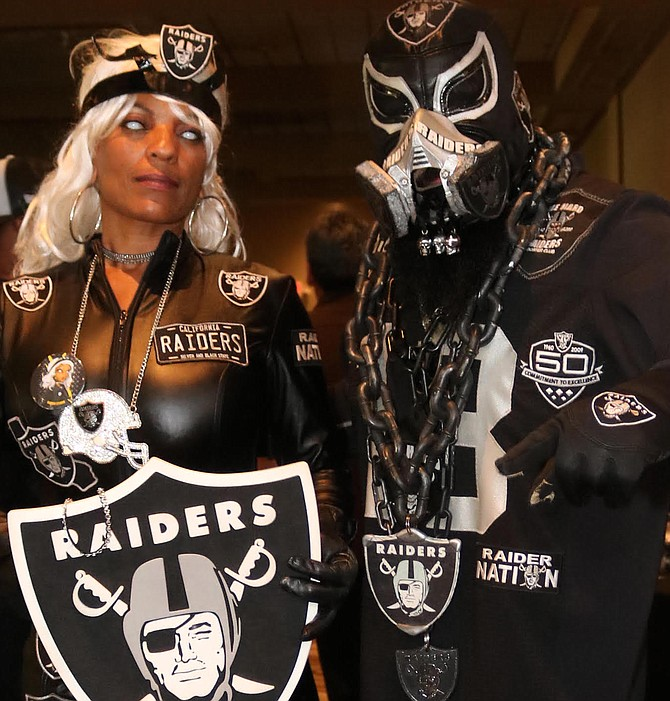 "Raider Storm's a season ticket holder from Oceanside and used to play women's tackle football with San Diego Surge. ""Our coach was a diehard Chargers fan."""