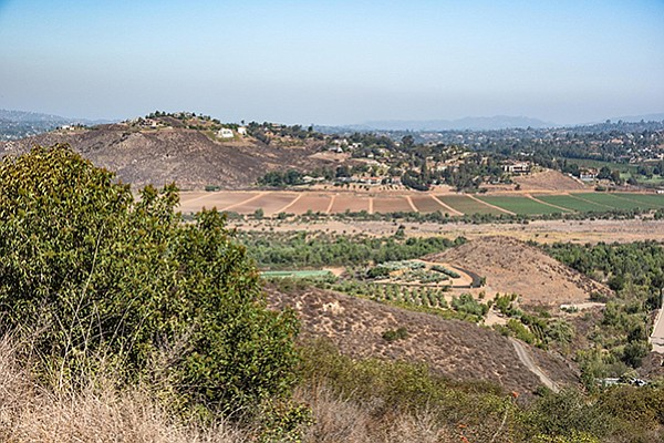 There is a sweeping view of San Pasqual Valley from the trail