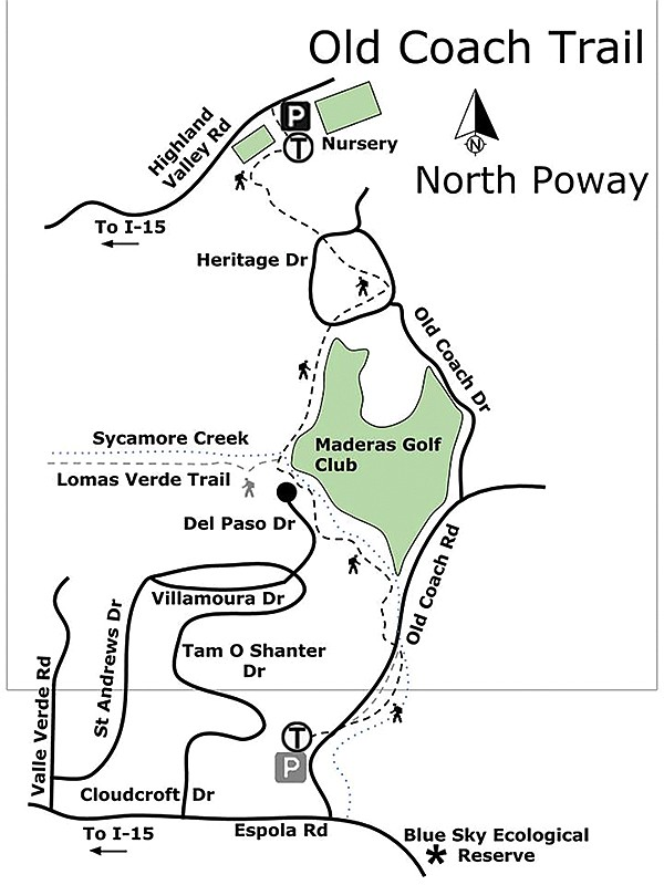 Old Coach Trail North Poway map