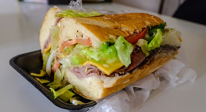 The Oak Park Special: roast beef, avocado, and cheddar, plus veggies