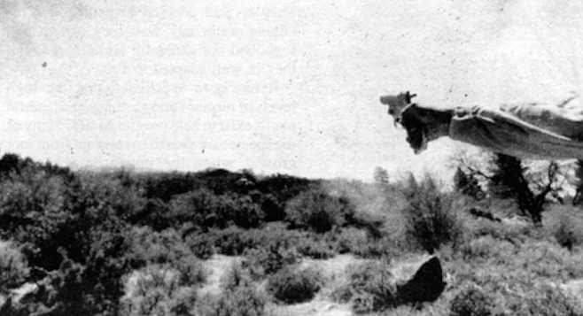 White and Robbins decide to try to ignite the brush on this particular hillside by using a flare gun.