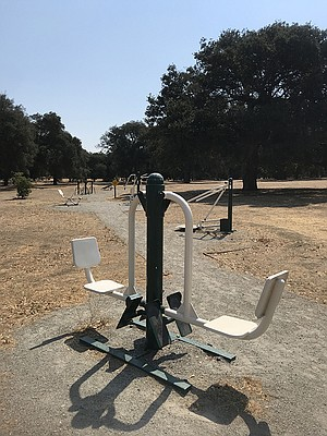 The park offers a series of outdoor exercise machines