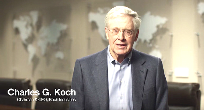 """Charles Koch. """"Our contacts at the Koch Foundation gave us complete independence to run the program the way we saw fit."""""""