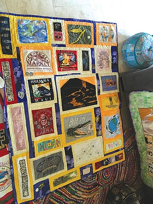 Her quilt: lots more graphics and Hawaii