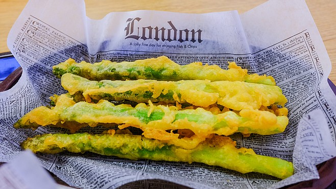 Even asparagus gets fried in tempura-like batter.