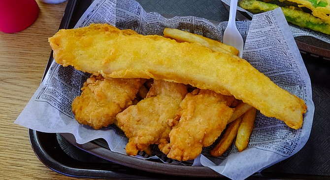 The fish and chips and chicken combo at Chef John's Fish & Chips
