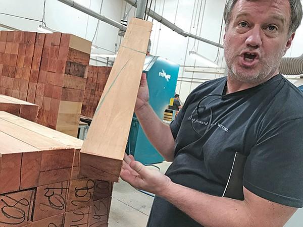 Scott Paul shows Fijian mahogany for guitar necks