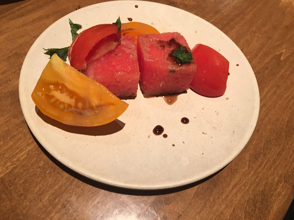Watermelon and heirloom tomato