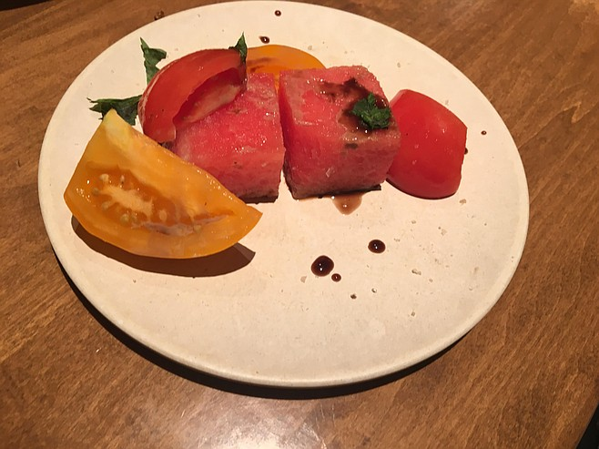 Watermelon and heirloom tomato
