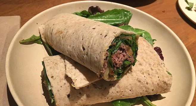Steak wrap – meat juices combined with the onion and yogurt.